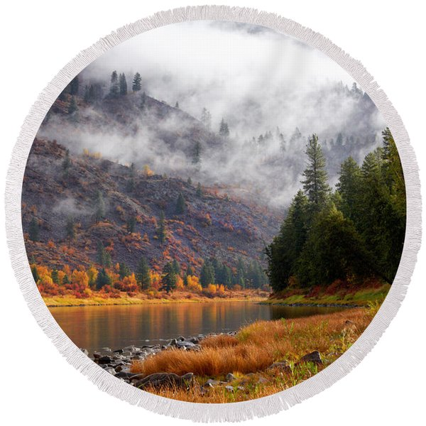 Misty Montana Morning Round Beach Towel