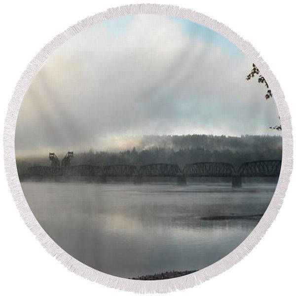 Misty Railway Bridge Round Beach Towel