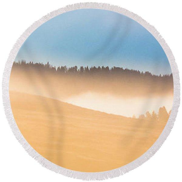 Misty Yellowstone   Round Beach Towel