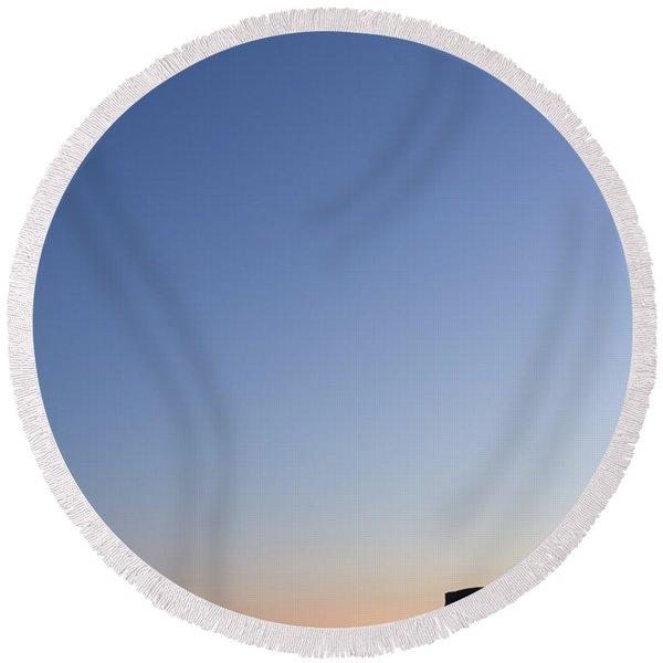 Moon Over Vik Round Beach Towel