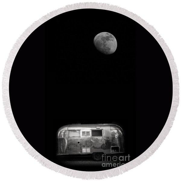 Moonrise Over Airstream Round Beach Towel