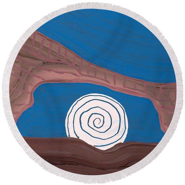 Moonscape Original Painting Round Beach Towel