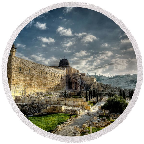 Morning In Jerusalem Hdr Round Beach Towel