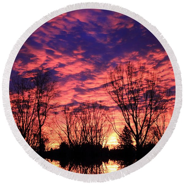 Morning Reflection Round Beach Towel