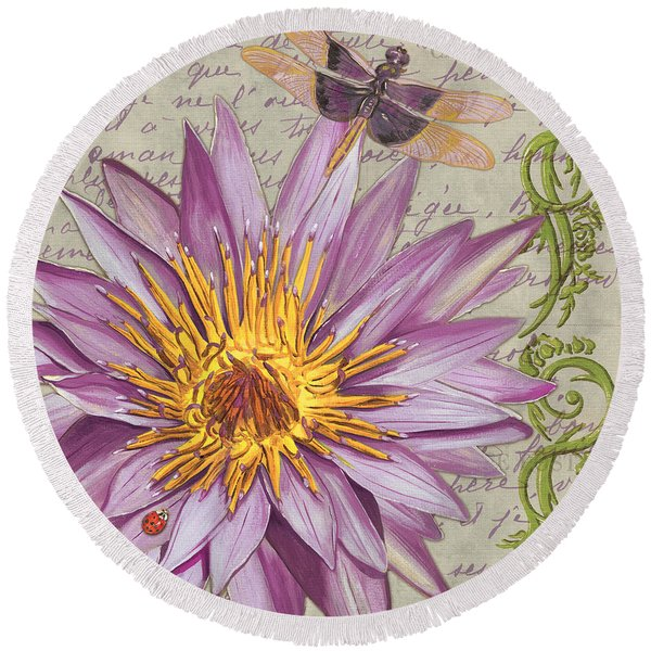 Moulin Floral 1 Round Beach Towel