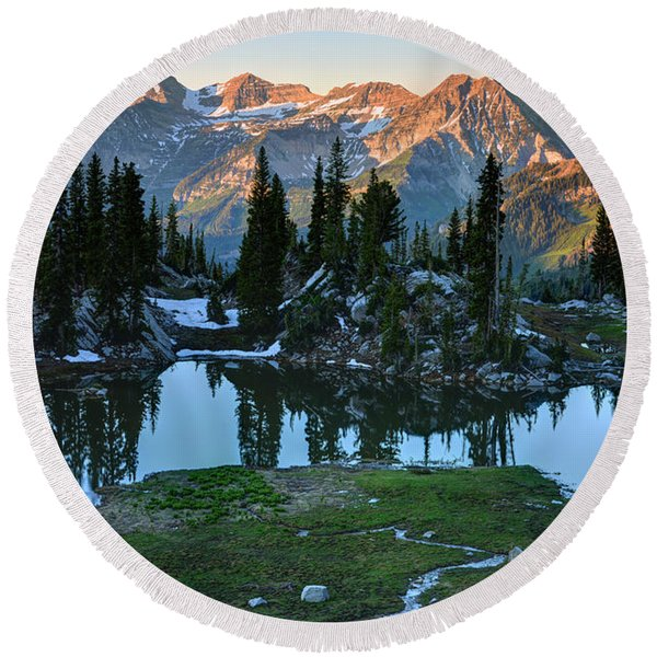 Mt. Timpanogos At Sunrise From Silver Glance Lake Round Beach Towel