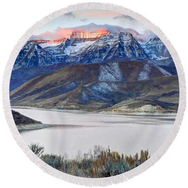 Mt. Timpanogos Winter Sunrise Round Beach Towel