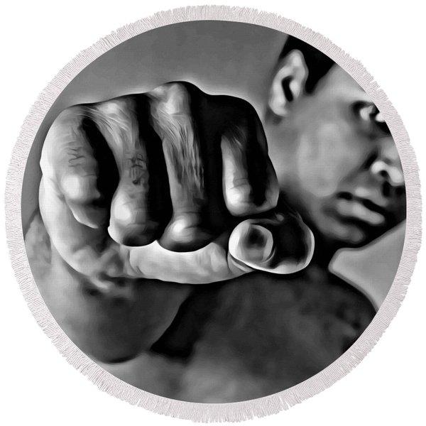 Muhammad Ali Fist Round Beach Towel