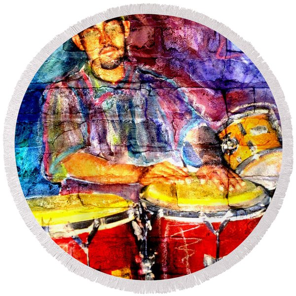 Musician Congas And Brick Round Beach Towel