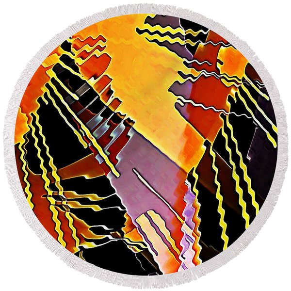 My Fission Electric Round Beach Towel