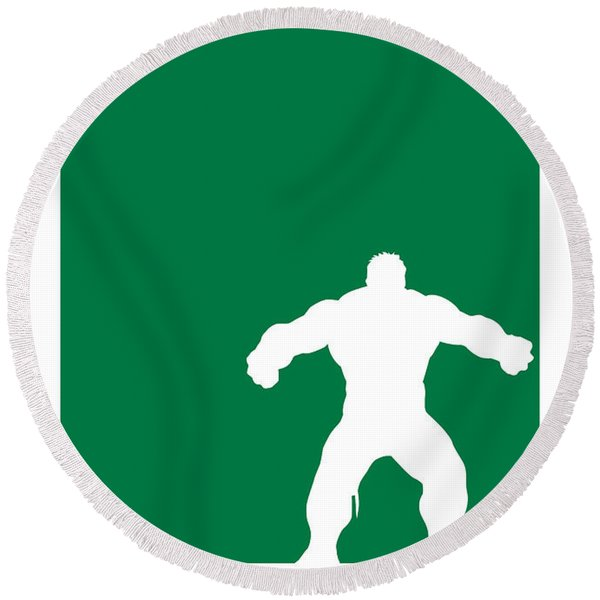 My Superhero 01 Angry Green Minimal Poster Round Beach Towel