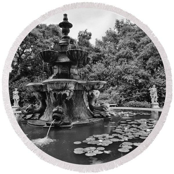 Mystery Fountain - Huntington Library And Botanical Gardens. Round Beach Towel