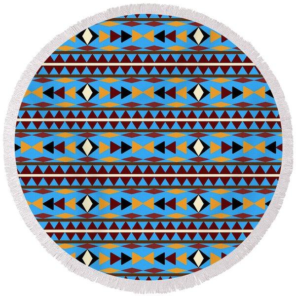 Navajo Blue Pattern Round Beach Towel