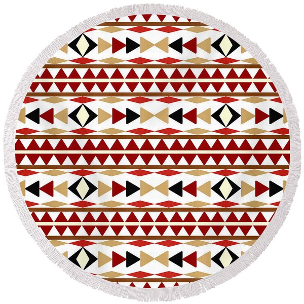 Navajo White Pattern Round Beach Towel