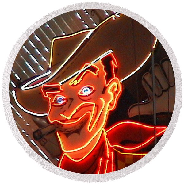 Neon Cowboy Of  Las Vegas Round Beach Towel