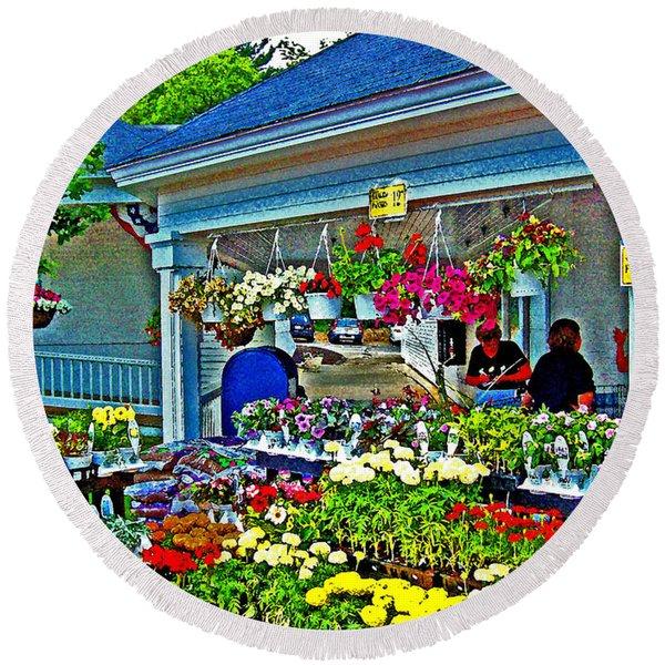 New England Flower Shops Round Beach Towel