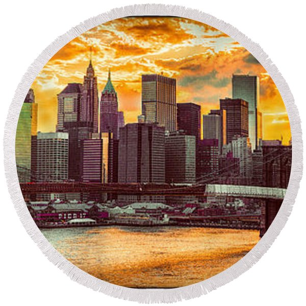 New York City Summer Panorama Round Beach Towel