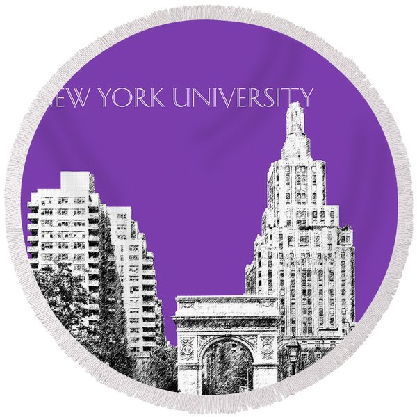 New York University - Washington Square Park - Purple Round Beach Towel