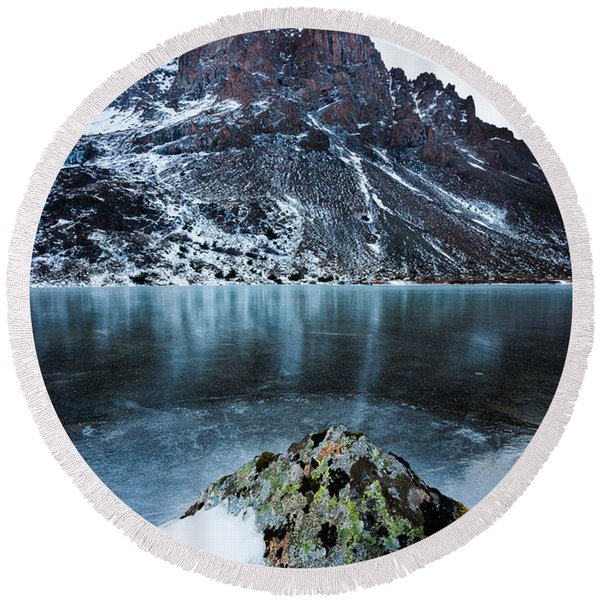 Round Beach Towel featuring the photograph Frozen Mountain Lake by Tim Newton