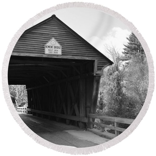 Nh Covered Bridge Round Beach Towel