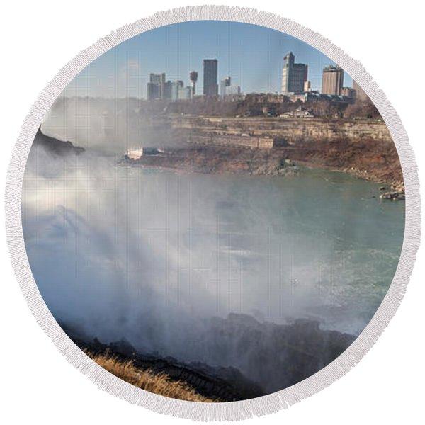 Niagara Falls Panorama Round Beach Towel