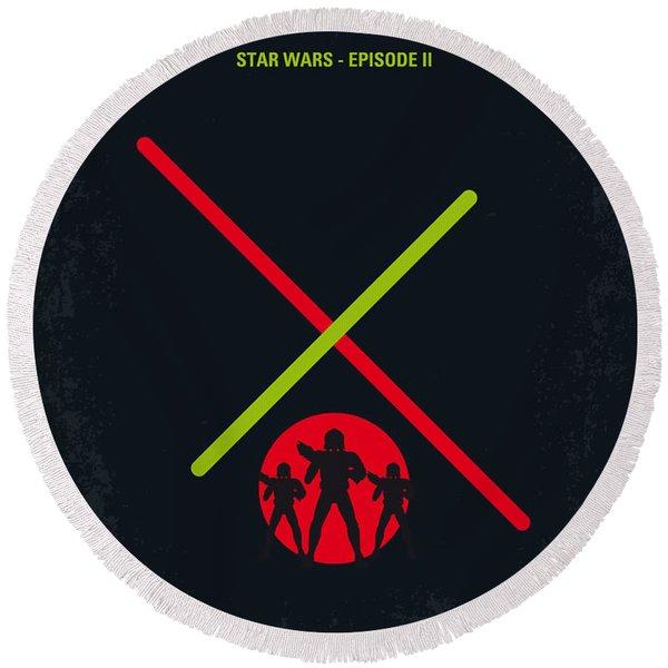 No224 My Star Wars Episode II Attack Of The Clones Minimal Movie Poster Round Beach Towel