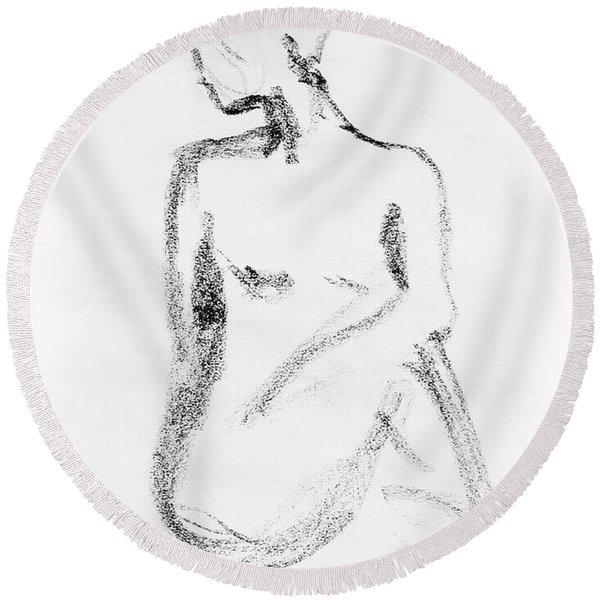 Nude Model Gesture Vi Round Beach Towel