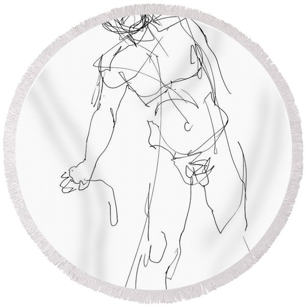 Nude_male_drawing_30 Round Beach Towel