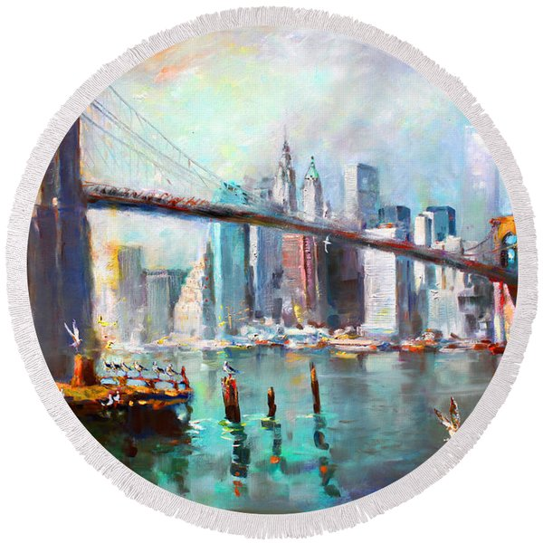 Ny City Brooklyn Bridge II Round Beach Towel