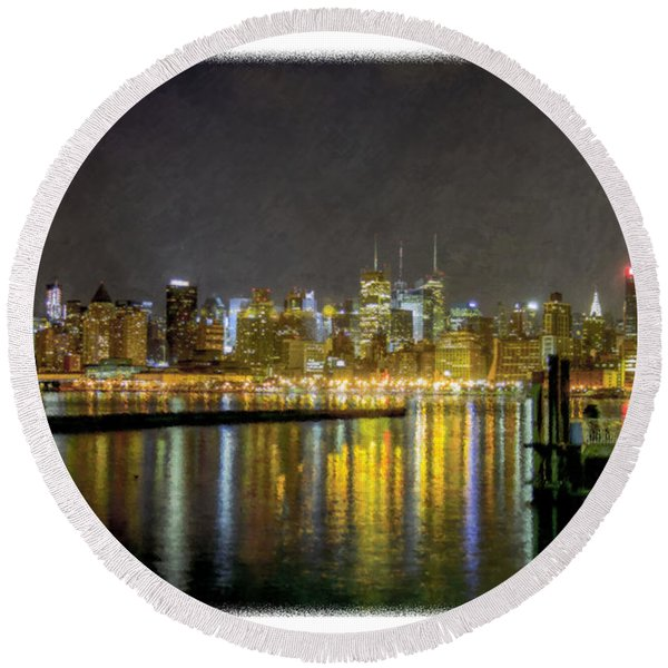 Nyc At Night Faux Oil Round Beach Towel