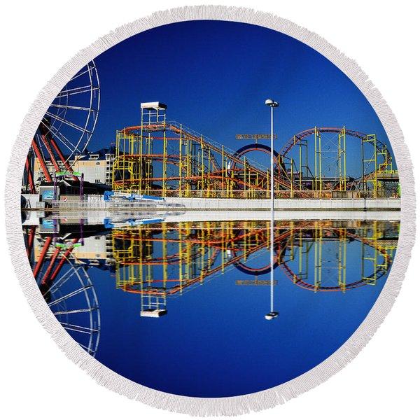 Ocean City Amusement Pier Reflections Round Beach Towel