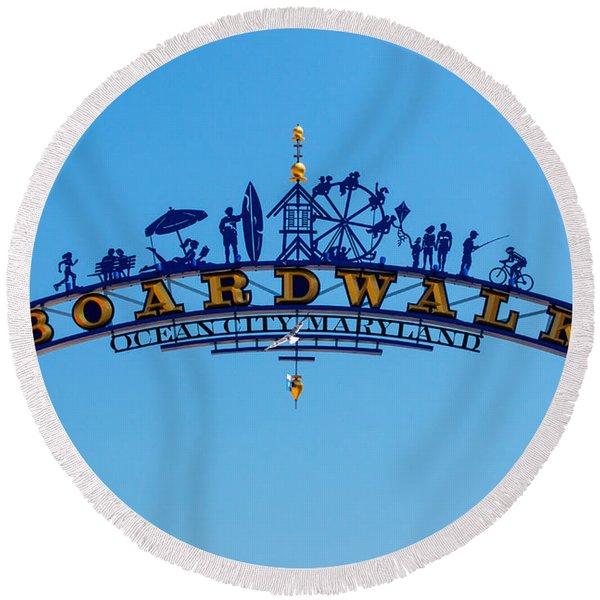 Ocean City Boardwalk Arch Round Beach Towel
