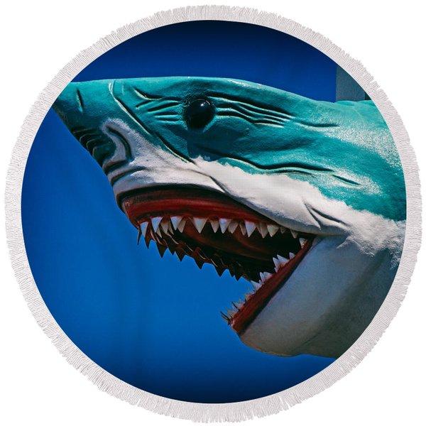 Ocean City Shark Attack Round Beach Towel