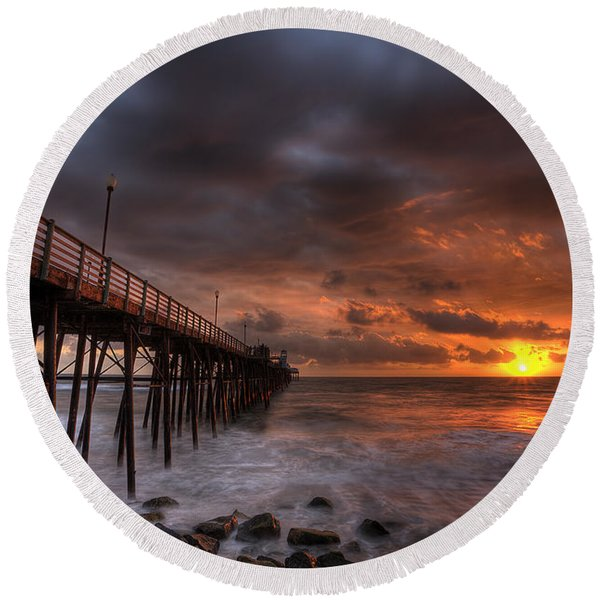 Oceanside Pier Perfect Sunset Round Beach Towel