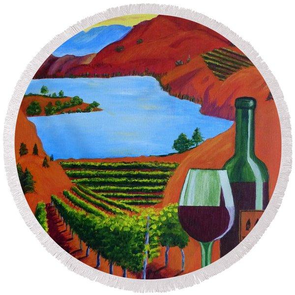 Okanagan Wine Country Round Beach Towel