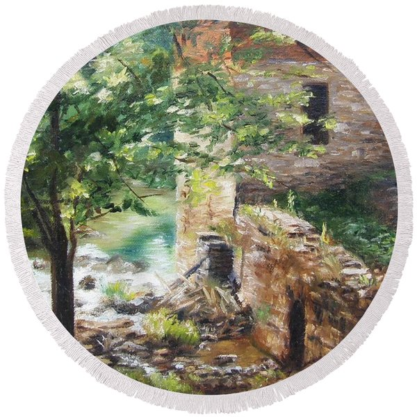 Old Mill Stream I Round Beach Towel