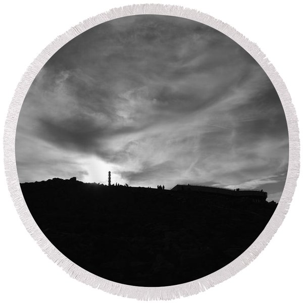 Ominous Sky Over Mt. Washington Round Beach Towel