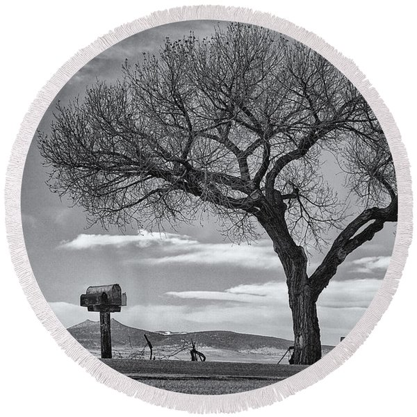 Round Beach Towel featuring the photograph On The Road To Taos by Mary Lee Dereske