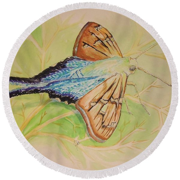 One Day In A Long-tailed Skipper Moth's Life Round Beach Towel
