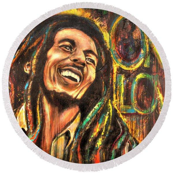 Bob Marley - One Love Round Beach Towel