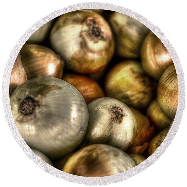 Onions Round Beach Towel