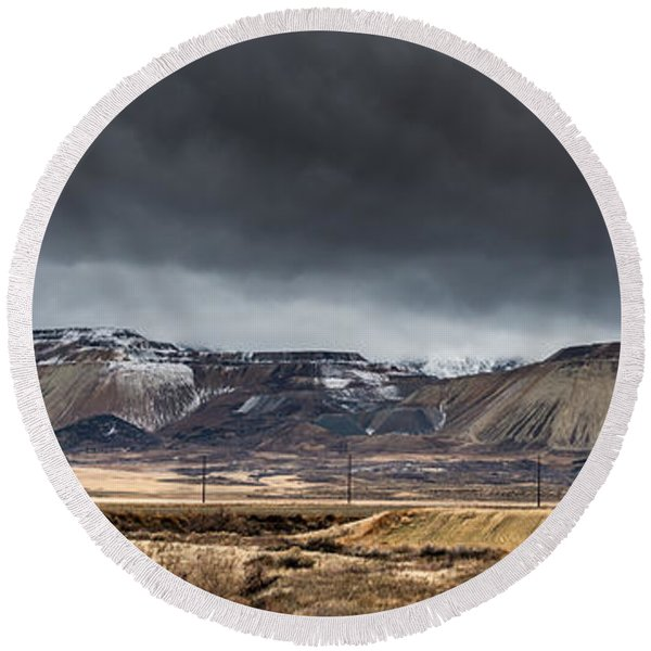 Oquirrh Mountains Winter Storm Panorama 2 - Utah Round Beach Towel
