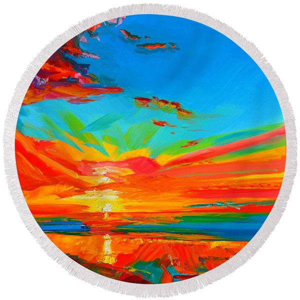 Orange Sunset Landscape Round Beach Towel