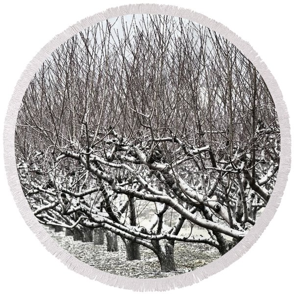 Orchard In Winter Round Beach Towel