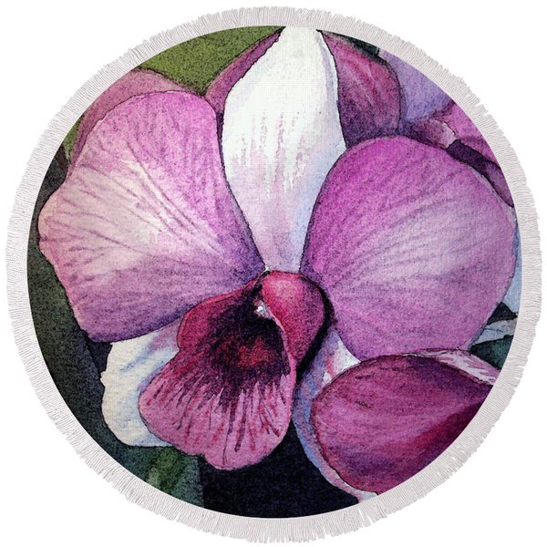 Orchid Round Beach Towel