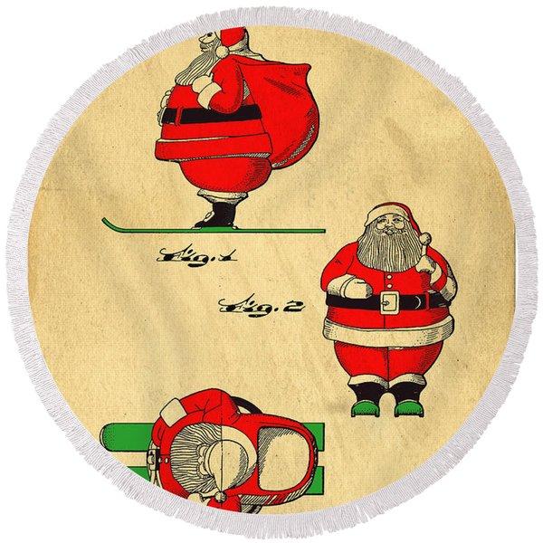 Original Patent For Santa On Skis Figure Round Beach Towel