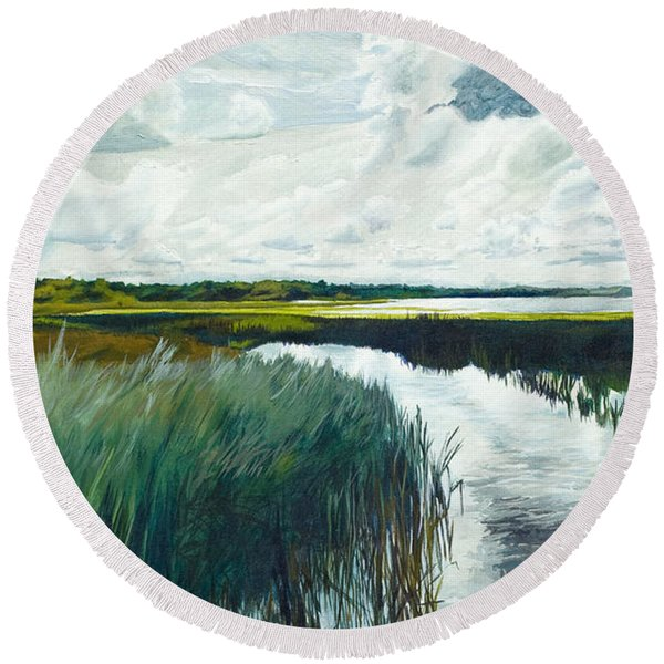 Otter Tail River From Bridge Round Beach Towel