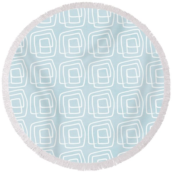 Out Of The Box Blue And White Pattern Round Beach Towel