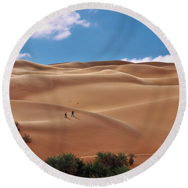 Over The Dunes Round Beach Towel