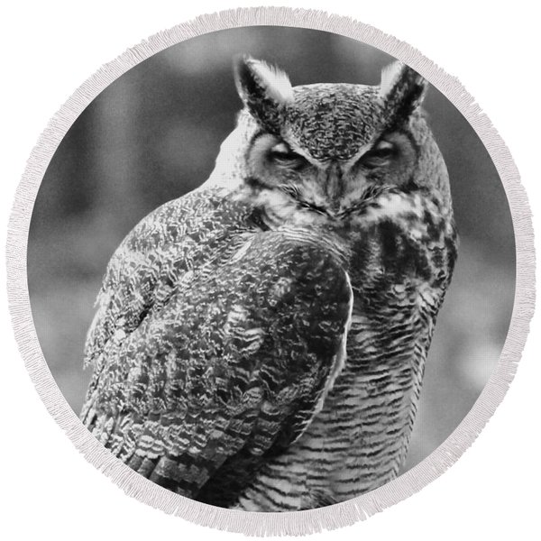 Owl In Black And White Round Beach Towel